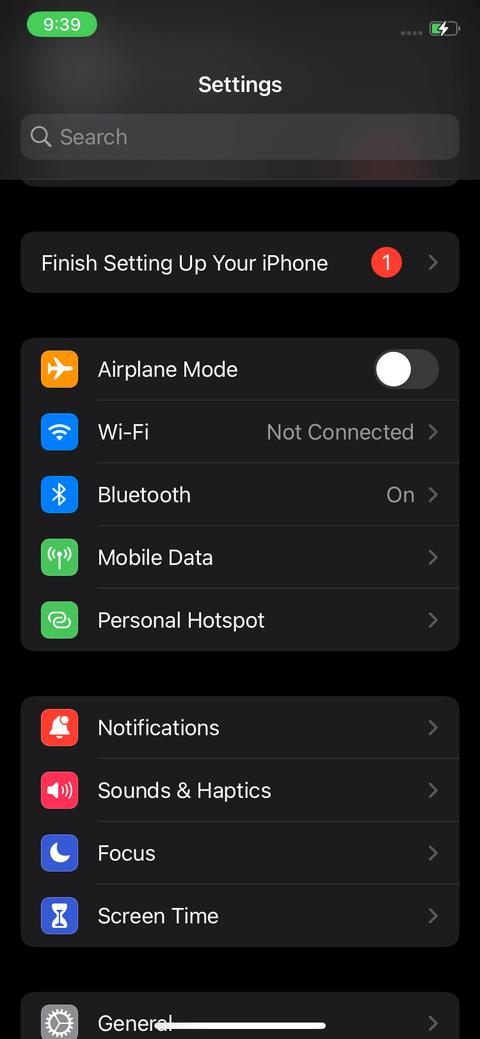 Cửa sổ cài đặt trên iPhone