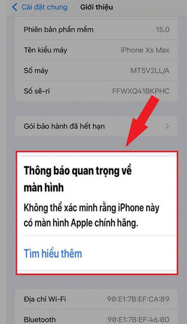 màn hình iPhone đã được thay thế