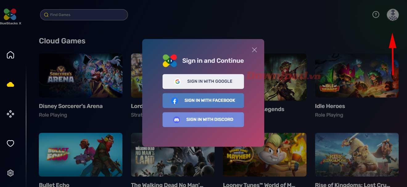 """<p>2. Chọn hình thức đăng nhập bạn muốn chơi Game Android trên web.  Sau đó làm theo hướng dẫn.</p> <p>""""/></p></div> </li> <li> <div class="""