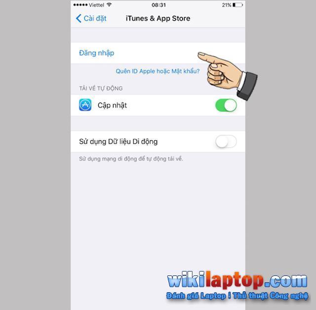 Đăng nhập vào AppStore bằng Apple ID