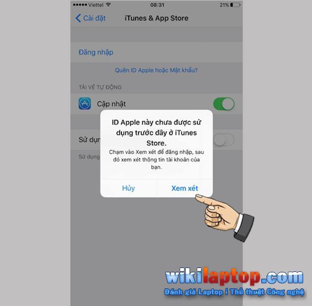Chọn Đánh giá để tiến hành sử dụng Apple ID của bạn khi mua hàng qua App Store