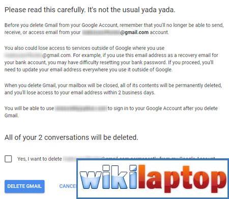 Nhấp vào Xóa Gmail