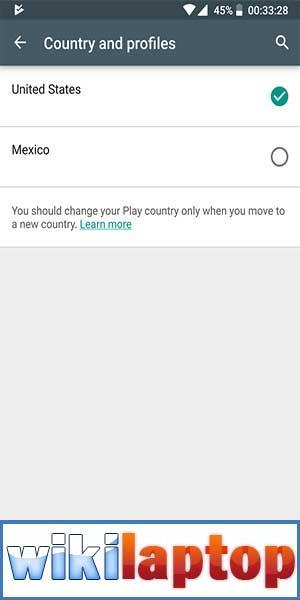 Nhấp vào danh mục Quốc gia và chọn quốc gia mới