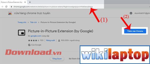 Nhấp vào nút Thêm tiện ích mở rộng vào Chrome