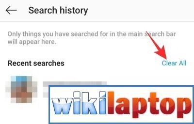 Xóa tất cả các tìm kiếm