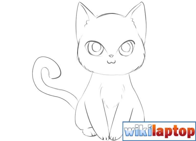 Vẽ con mèo anime dễ thương