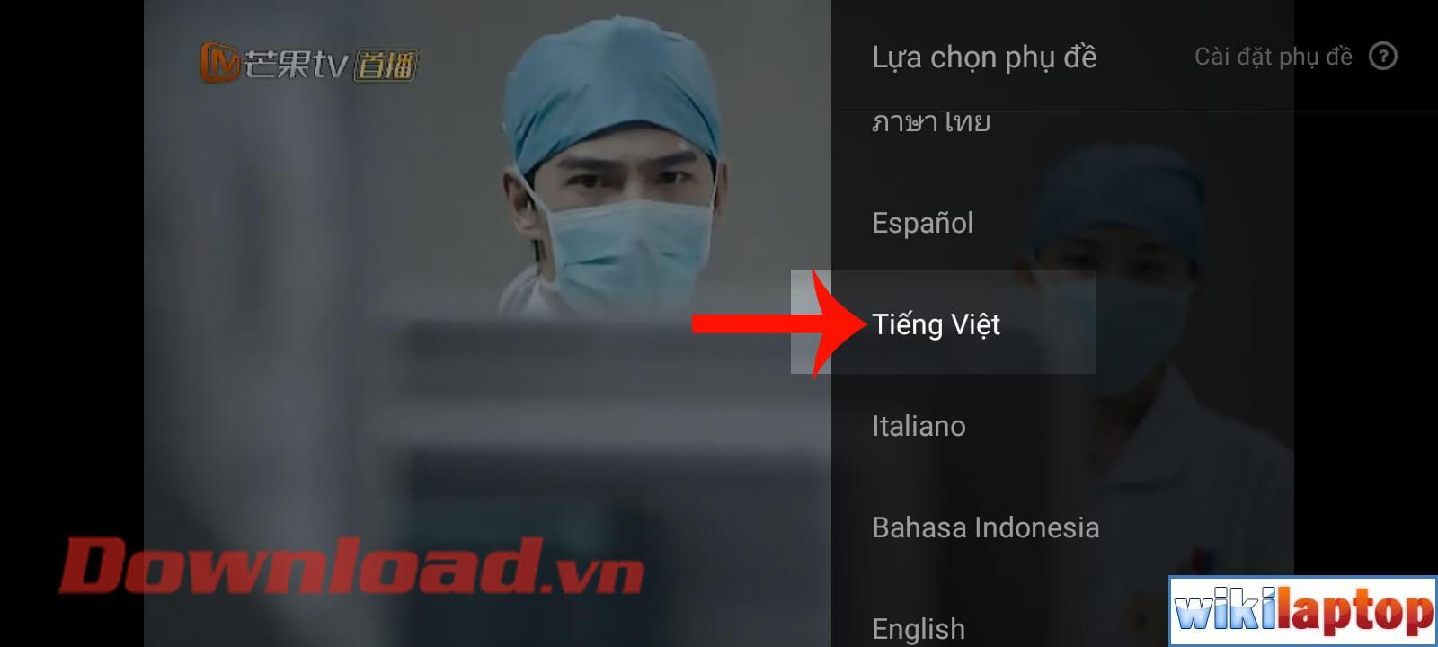 Chọn ngôn ngữ Tiếng Việt