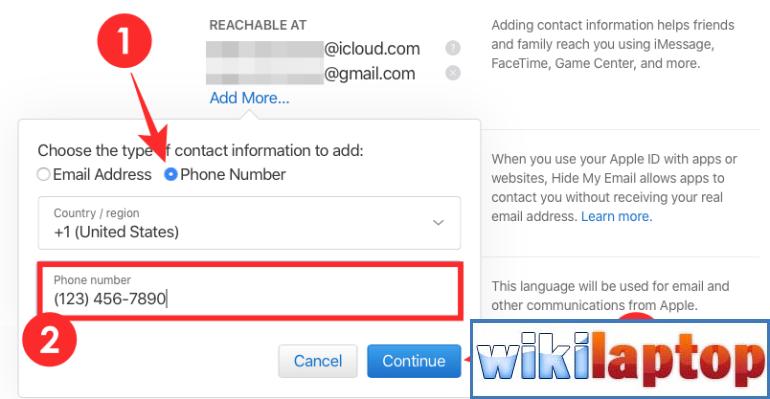 Thay đổi số điện thoại cho iCloud