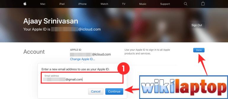 Thay đổi địa chỉ email iCloud trên web