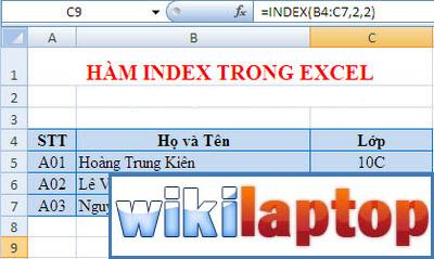 phương pháp index-in-excel