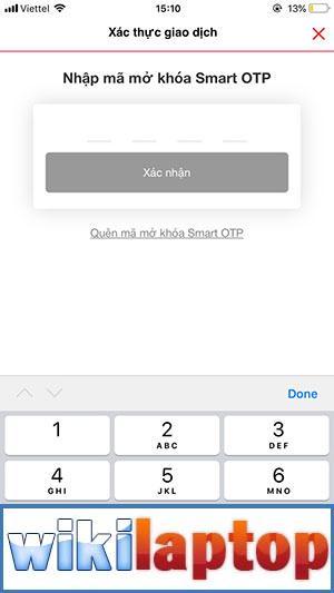Nhập mã mở Smart OTP
