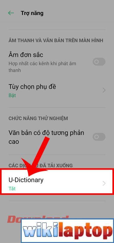 Nhấn vào mục nhập U-Dictionary