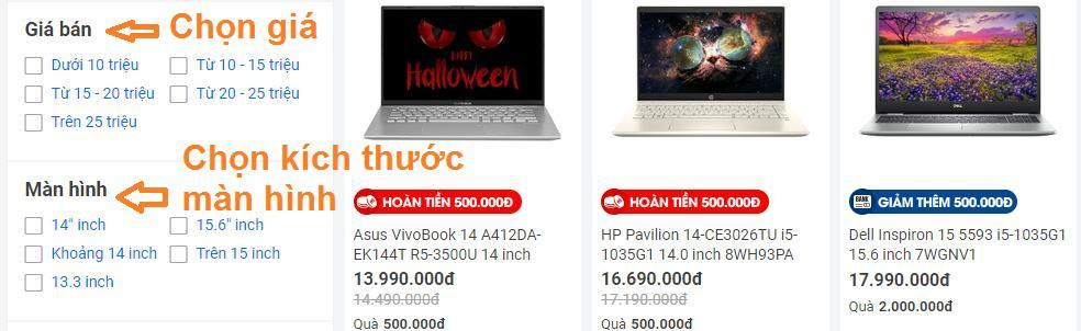 Chọn mua laptop theo giá bạn mong muốn
