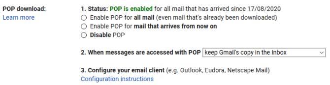 Cài đặt POP trong Gmail